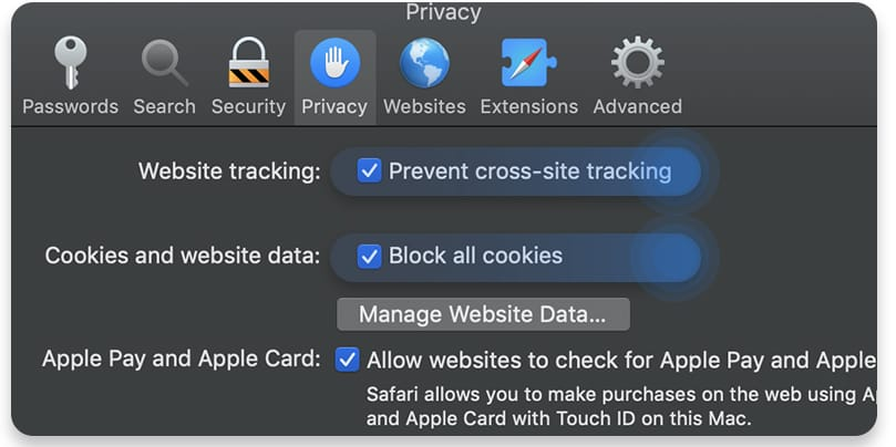 Delete cookies in Safari