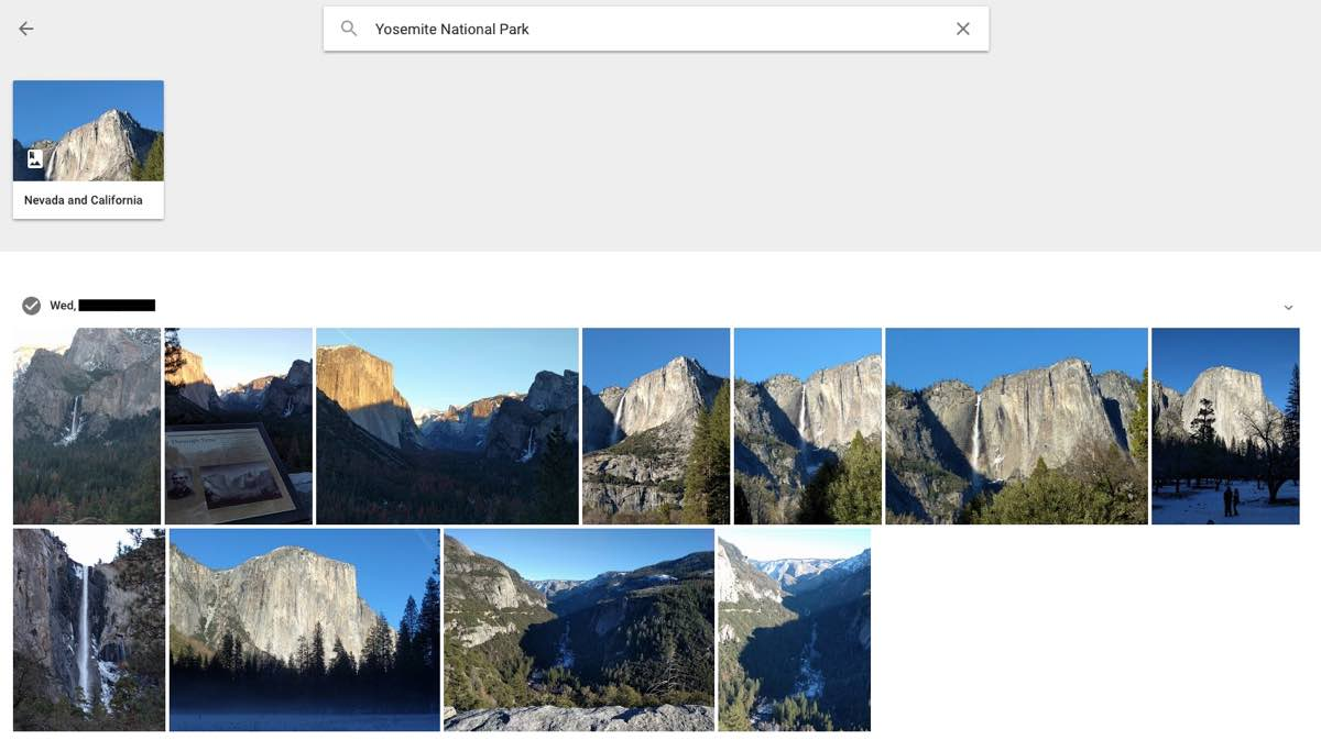 Google Photos' AI search recognizes the landmarks of Yosemite National Park