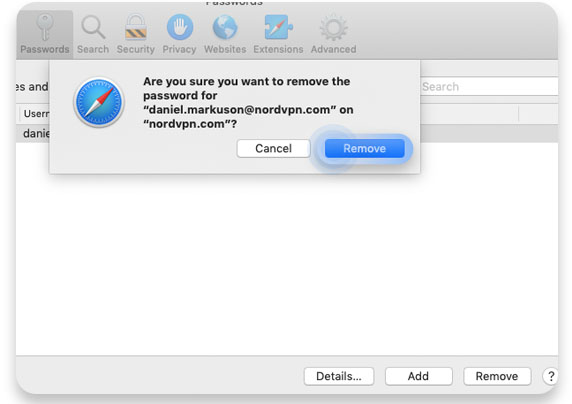 How to delete saved passwords on Safari