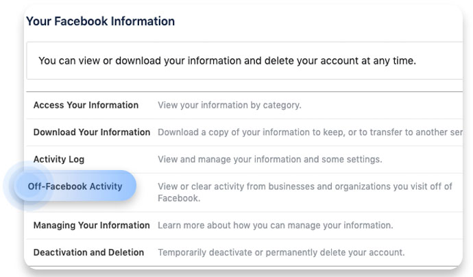 Click on Off-Facebook Activity