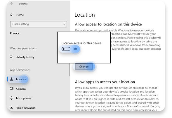 Turn location access off