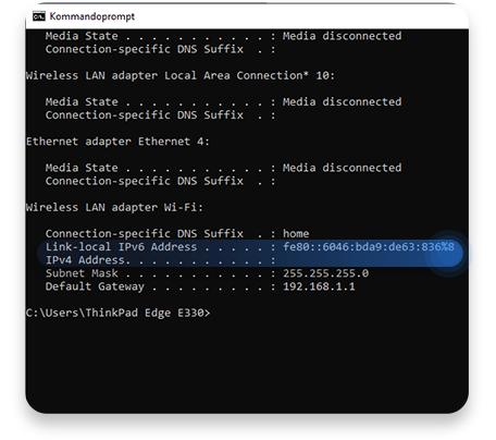 router ip windows cmd