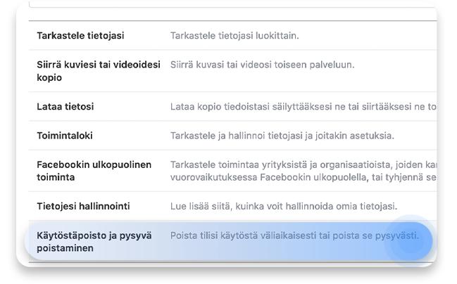 Facebook-tilin poistaminen: vaihe 2