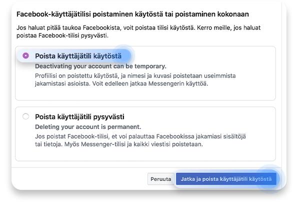 Facebook-tilin poistaminen: vaihe 3