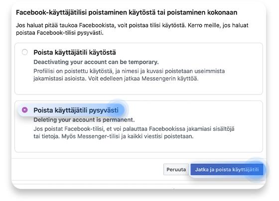 Facebook-tilin poistaminen: vaihe 5