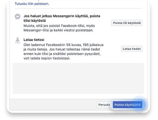 Facebook-tilin poistaminen: vaihe 6