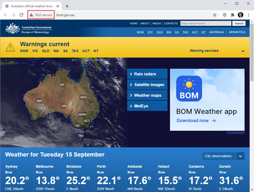 The Australian Bureau of Meteorology using HTTP