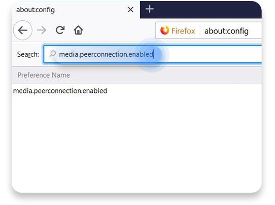 inaktiverar WebRTC i Firefox: steg 2