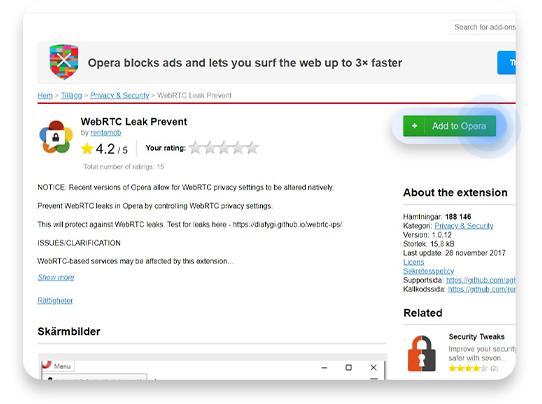 inaktiverar WebRTC i Opera: steg 1