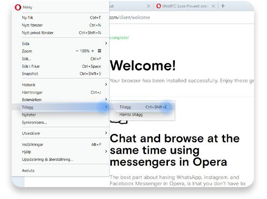 inaktiverar WebRTC i Opera: steg 2