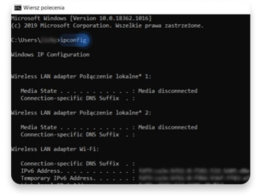 jak sprawdzić adres ip routera na Windowsie (CMD): krok 2