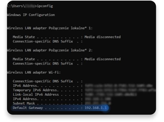 jak sprawdzić adres ip routera na Windowsie (CMD): krok 3