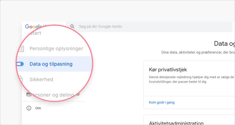 slet gmail konto: trin 1