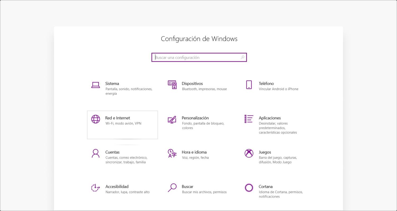 Configuracíon de Windows Paso 1