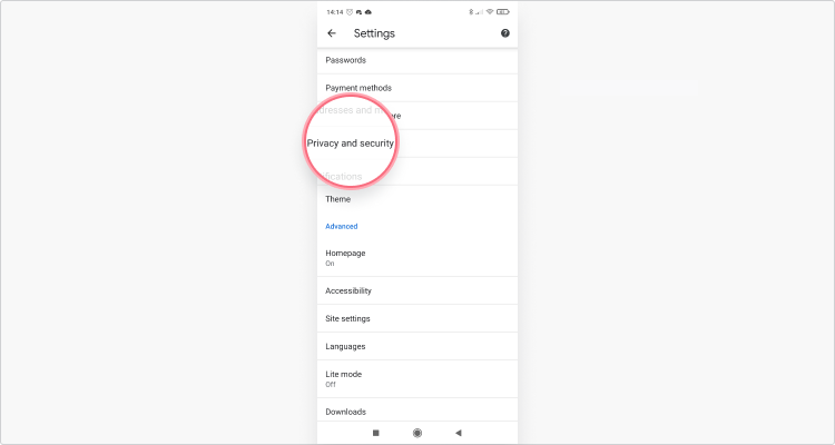 Xóa cookie trong Chrome Mobile