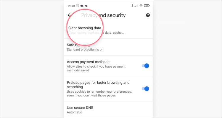 Delete cookies in Chrome Mobile