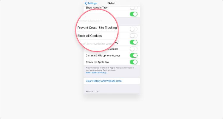 Delete cookies in Safari iOS